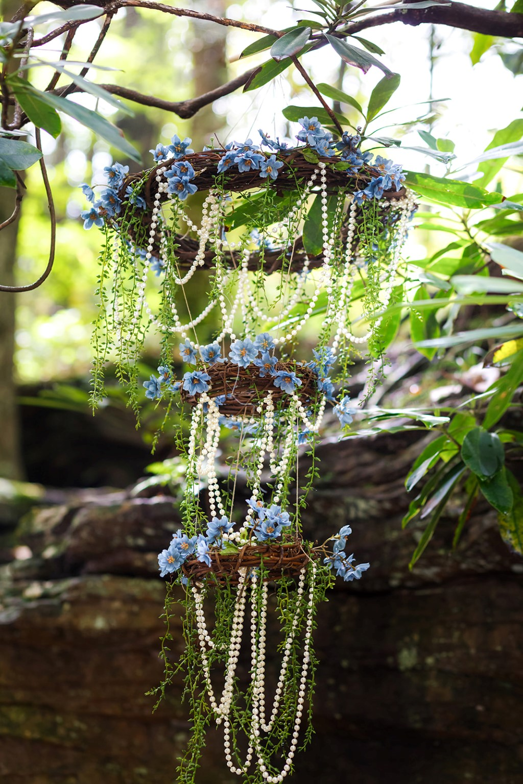 woodland inspired elopement - hanging decoration - Angie Candell Photography