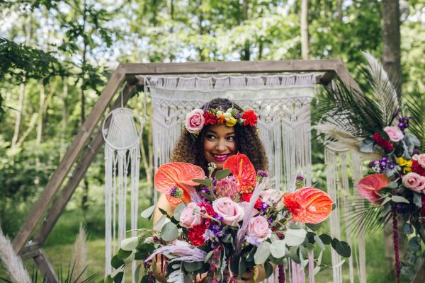 Gorgeous bold, bright and colourful bohemian bridal inspiration