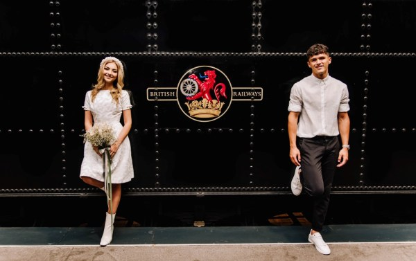 A gorgeous industrial urban inspired wedding shoot at Severn Valley Railway with black, gold and blush detailing