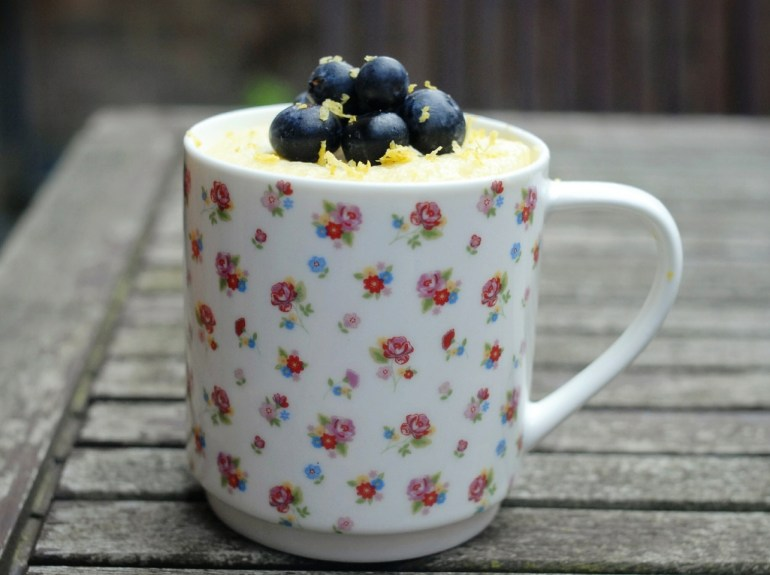 Food blog microwave recipe lemon mug cake