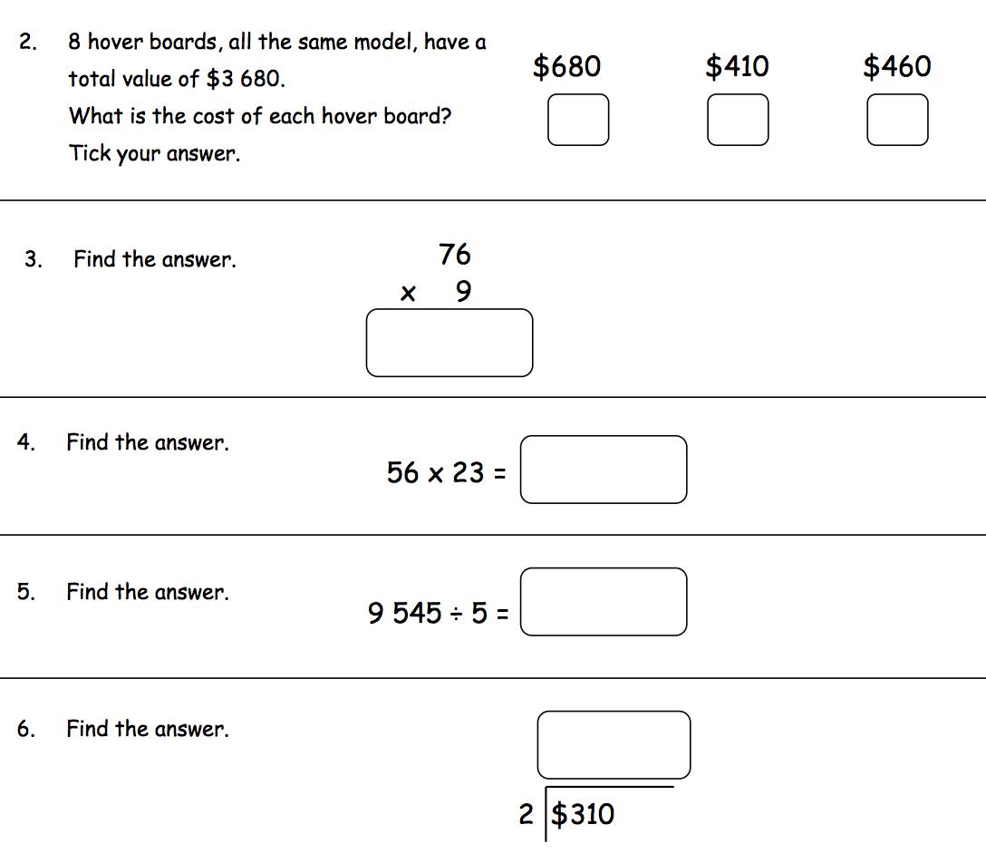 Math Test Revision Yr 5