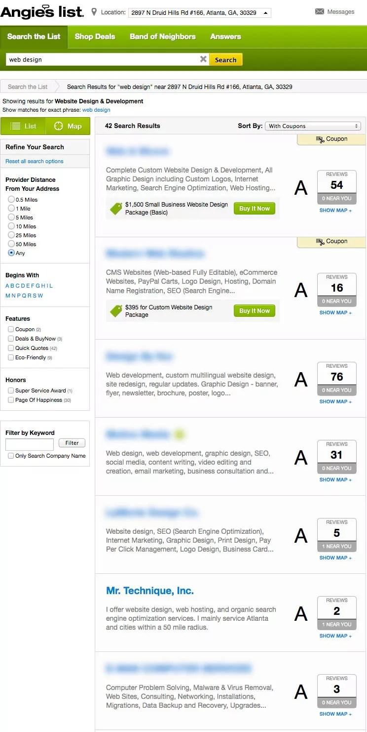 Angie's List Search Results for Web Design in Atlanta, GA