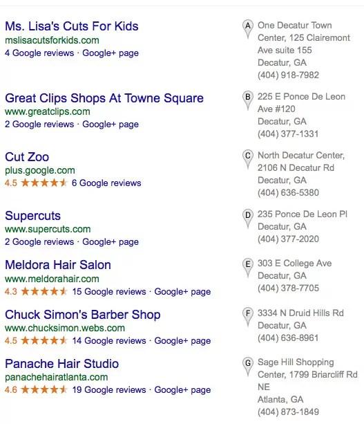 Google Local Listings for Hair Cut Search