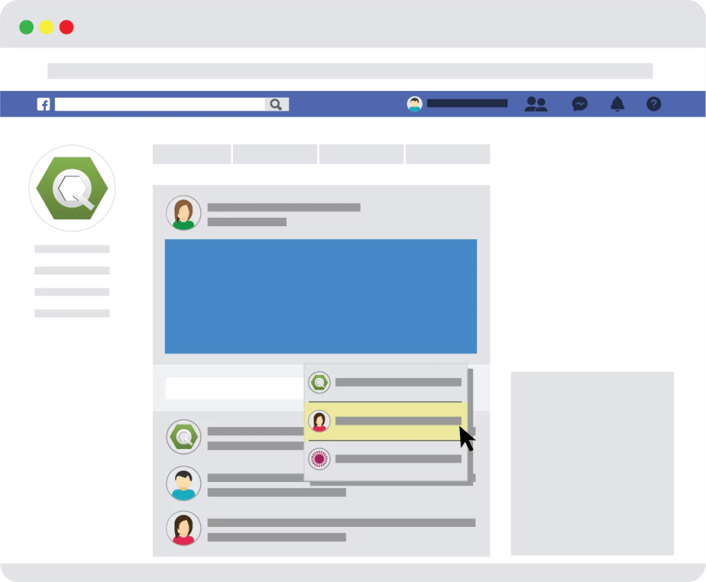 Illustration of commenting as yourself on a Facebook page