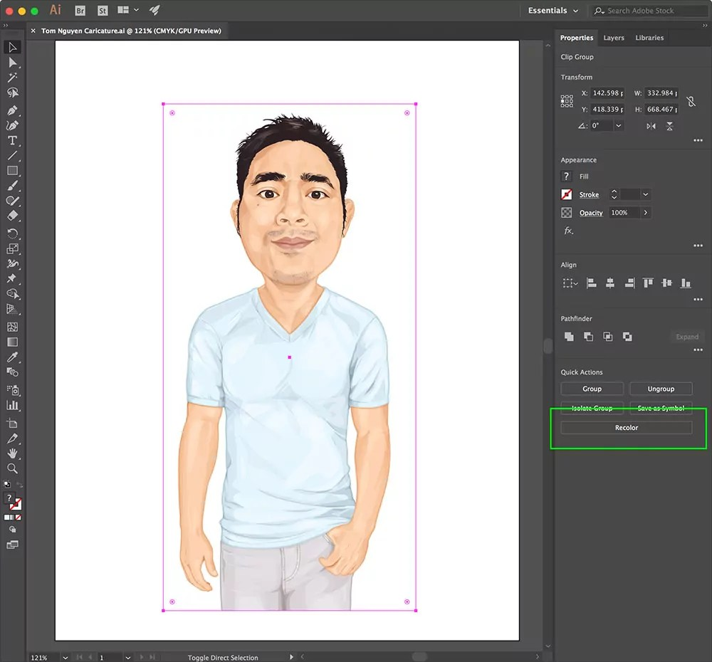 Adobe Illustrator CC Recolor Button in Properties Panel