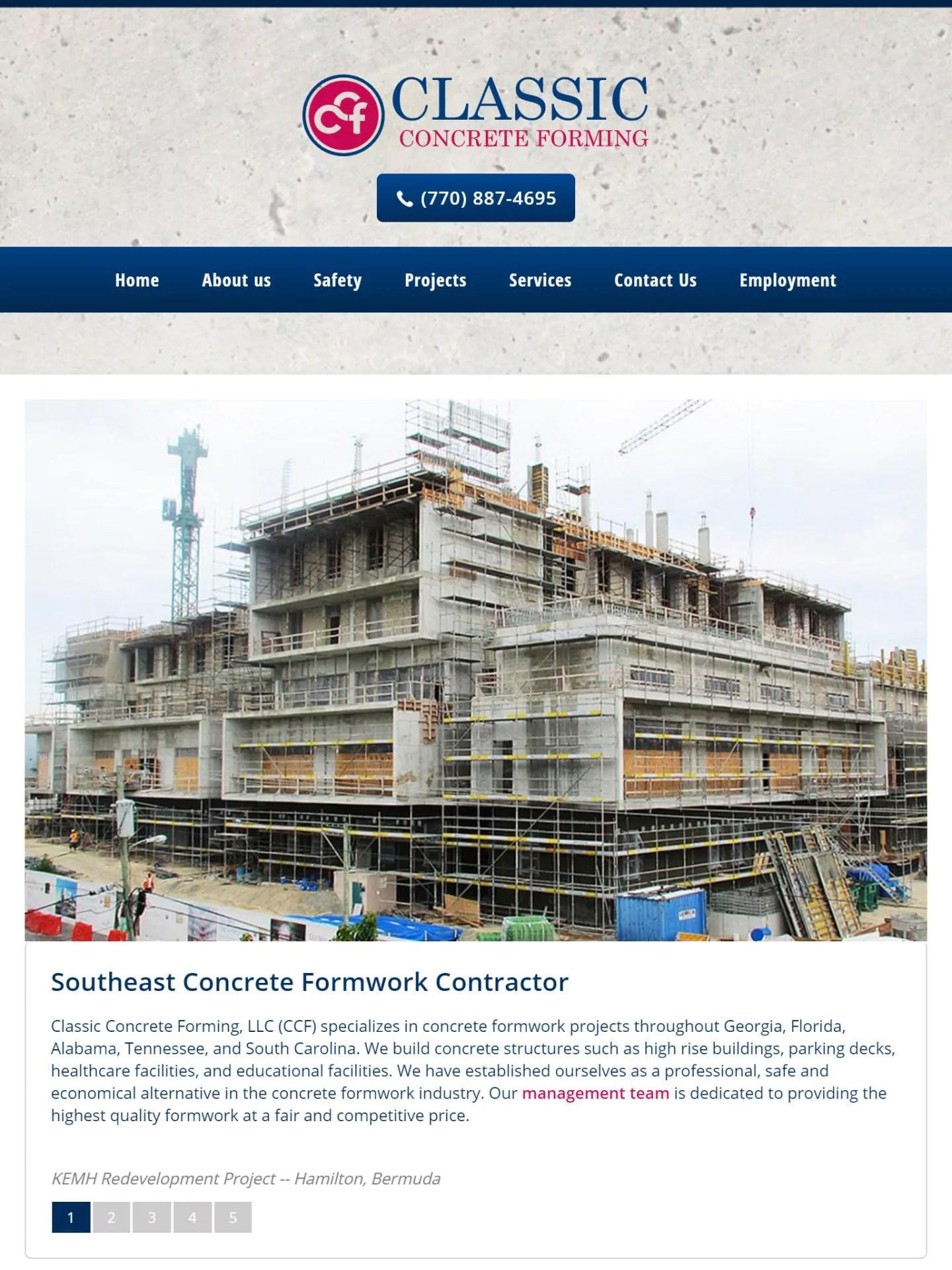 Classic Concrete Forming (Cumming) Tablet Web Design