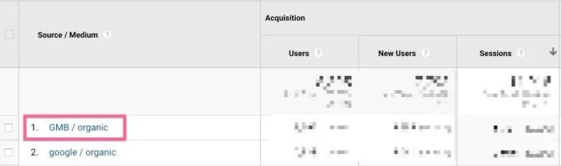 GMB Visits separated from regular organic Google visits in Google Analytics