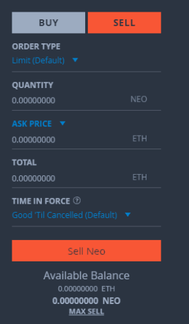 Sell NEO on Bittrex