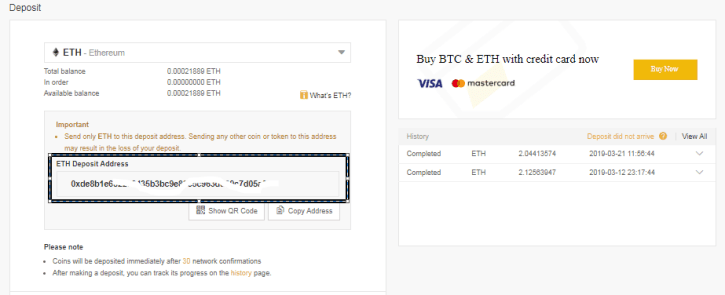 Deposit ETH to Binance