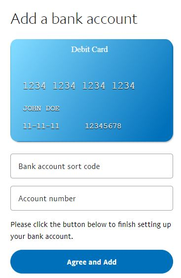 Bank Account Detail Entry PayPal