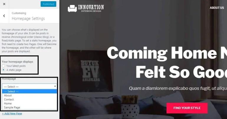 Chaneg the home page in wordpress theme customization