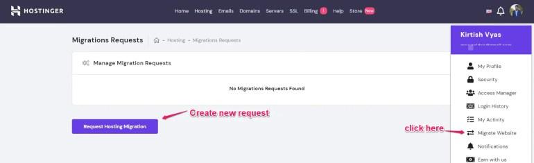 Hostinger hosting migrate