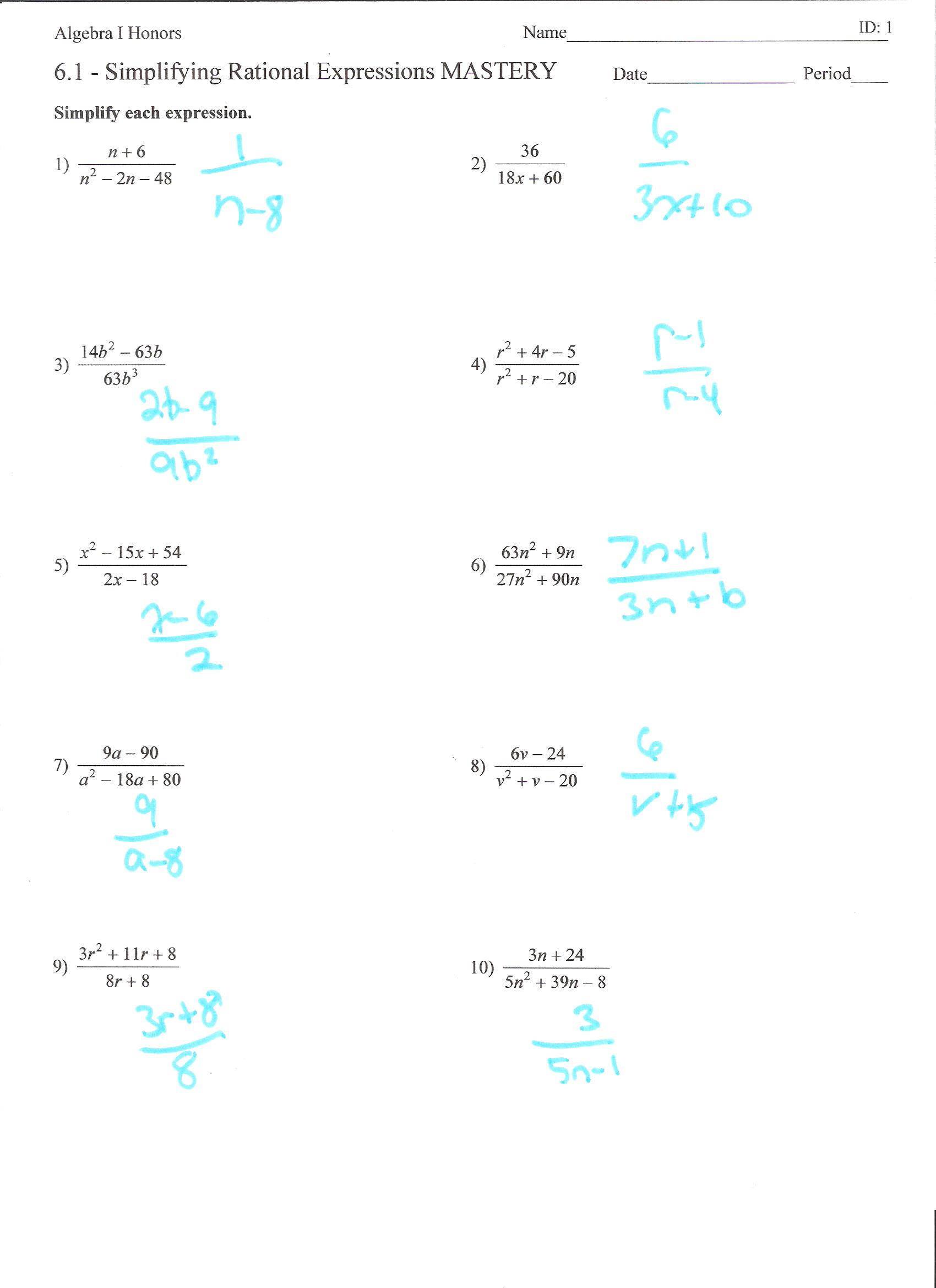 Printables Adding Rational Expressions Worksheet Mywcct