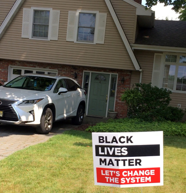 Ignorant traitor BLM support in Park Ridge, NJ.