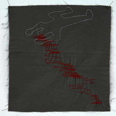 Silke Krah Chalk Outline Machine Embroidery
