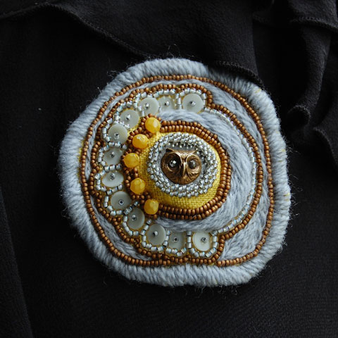 Stitchgasm – Lemon Grove's Beaded Owl Brooch