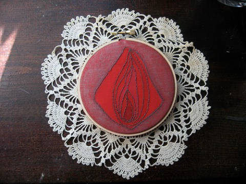 Pink & Red & Lace Hand Embroidered Vagina by Scarlet Tentacle