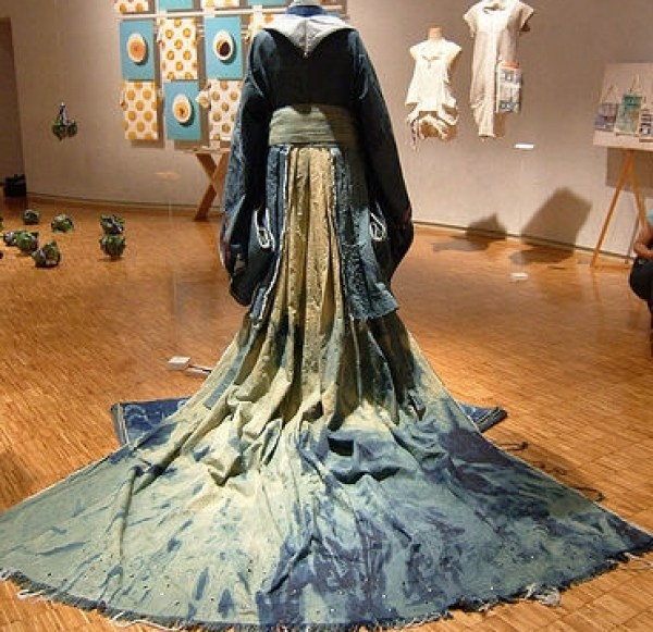 traditional Japanese clothing remade in denim by Rina Karibe