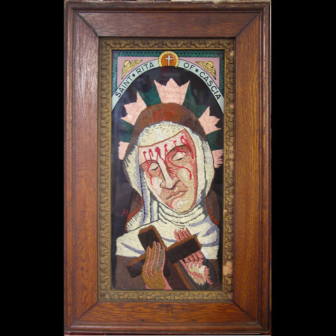 William Schaff - St. Rita of Cascia hand embroidery