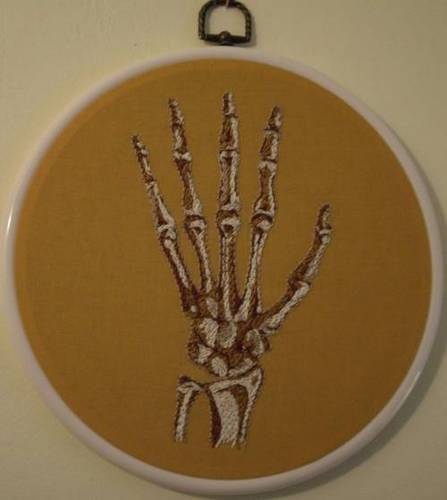 Craftster Pick of the Week – Mezcraft's Hand Embroidered Hand Bones