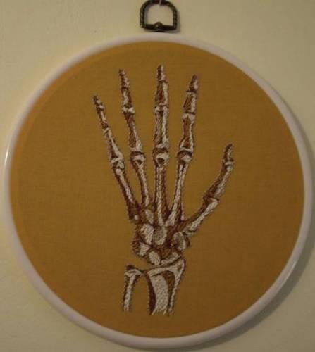 Mezcrafts's Hand Embroidered Hand Bones
