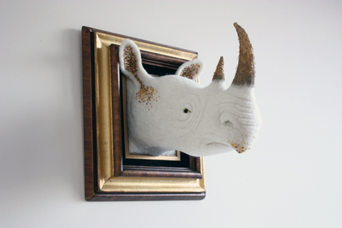 Zoe Williams - Golden Rhino needle felted art