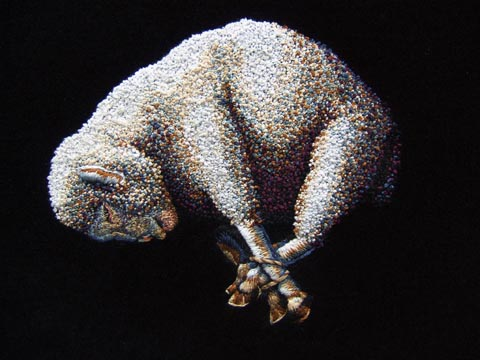 """Kate Kretz - """"The Final Word"""", 2012, embroidery on black velvet, 20 x 16"""""""