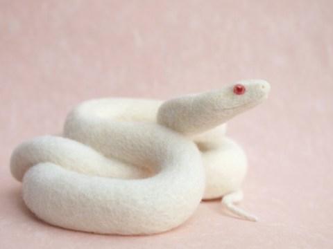 Miki Ichiyama needle felted snake Shiro Ebi