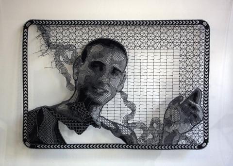 Pierre Fouche - Portrait of Guy Nardy (2009-2012). Bobbin Lace in Polyester Floss