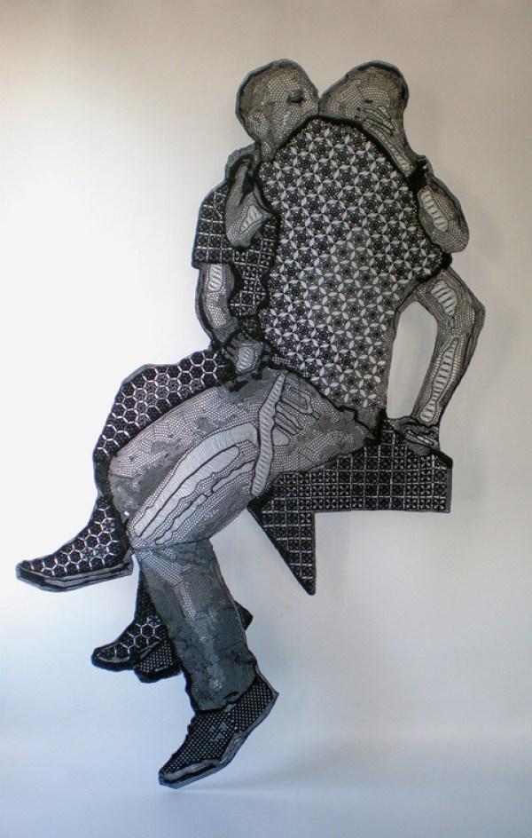 Pierre Fouche - The Kiss (2008), Crochet cotton, 2000 x 1200mm