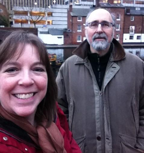 Dena with Doug Kreinik, representing Kreinik Manufacturing Company at a trade show in Birmingham, England.