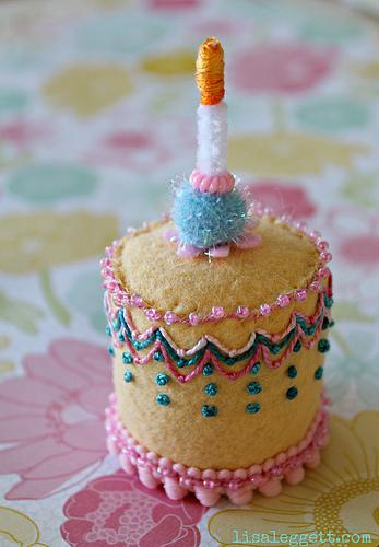 Tiny Cake Embroidered Plush by Lisa Leggett