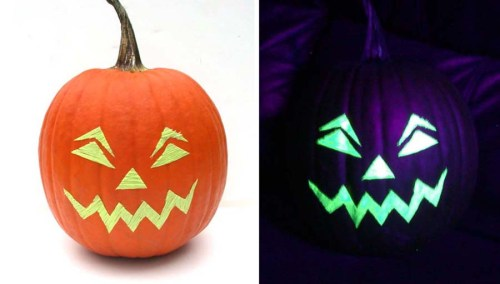 """A little double-sided tape and Kreinik glow-in-the-dark 1/8"""" Ribbon makes this pumpkin last longer than the usual carved version."""