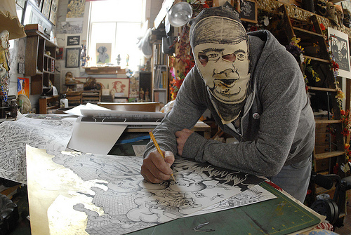 William Schaff in his studio. Masked. 2013.