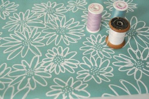 Blueberry Park -Scruffy daisy screen printed fabric