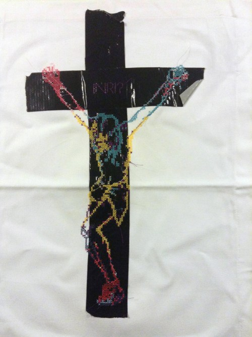 Stickvogel - INRI - Embroidery on Duct Tape
