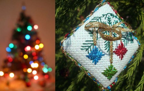 Metallic threads may have a reputation for making you slow down while stitching, but nothing beats the shimmer in holiday designs. Like lights on a Christmas tree, a few stitches of metallic Braid just make things more special.