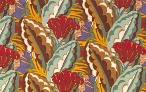 V&A fabrics- Deco Leaf TAN