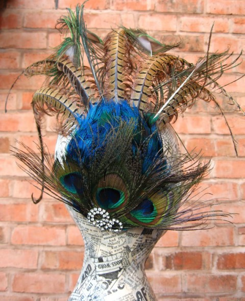 Etsy RedHotandBlue Peacock and Pheasant Feather Aigrette Fascinator