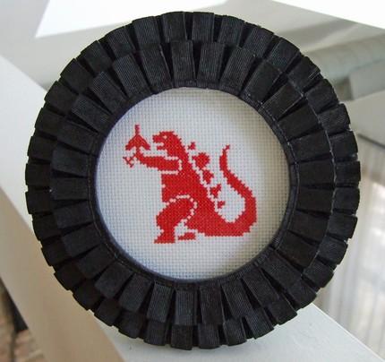 Godzilla Cross Stitch via Geek With Curves