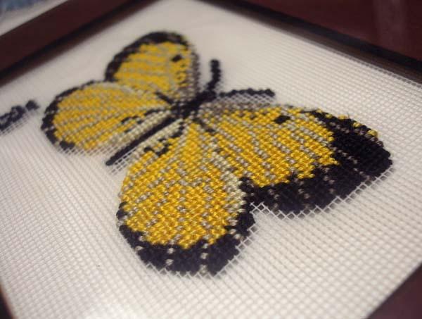 Basic butterfly pattern, stitched on Kreinik silk gauze.