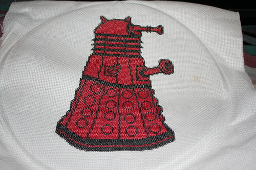 Arachnea's Red Dalek Cross Stitch
