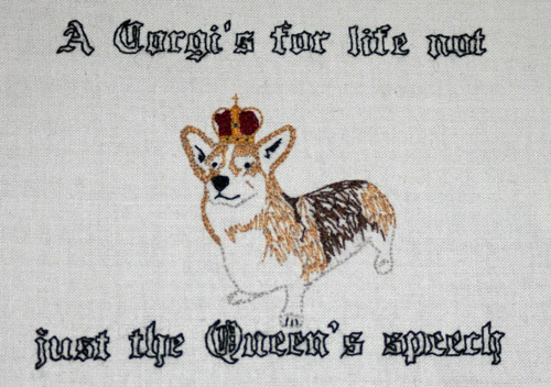 'HRH Corgi' by Jessica Taylor (Hand embroidery)