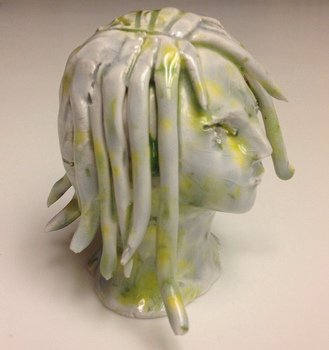Ceramic bust by Michelle Kingdom