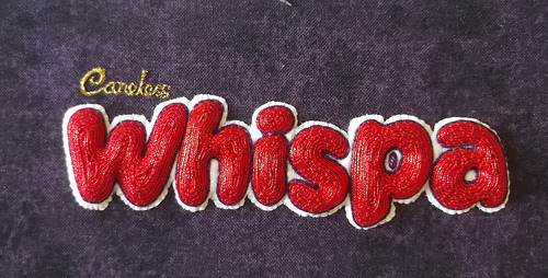 Careless Whispa. Hand embroidery by Charlotte Bailey.