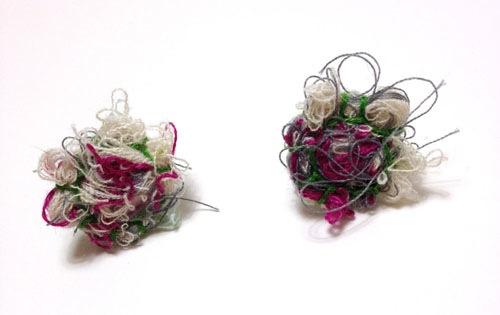 Fiber Earrings by Kelly Darke (Hand embroidery)