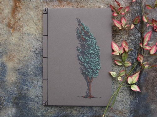 Cypress Tree Notebook by Fabulous Cat Papers (Hand embroidery)