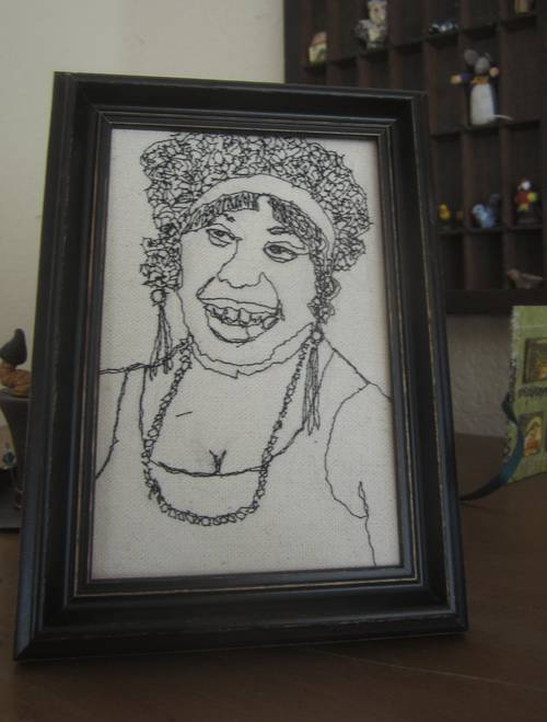 Ma Rainey machine embroidery by thisbirdsabsurd