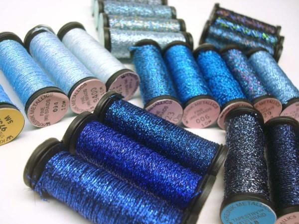 Range of blue metallic threads in the Kreinik Braids and Ribbons line, www.kreinik.com.