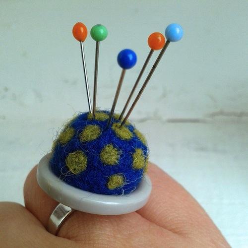 Spotty Pin Cushion Ring by Buzzy Feltz (Needle Felt)